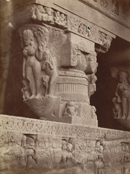 Ramesvara pillar in front woodcut p. 28 [Close view of pillar at entrance to Hindu Cave XXI (Ramesvara), Ellora.]